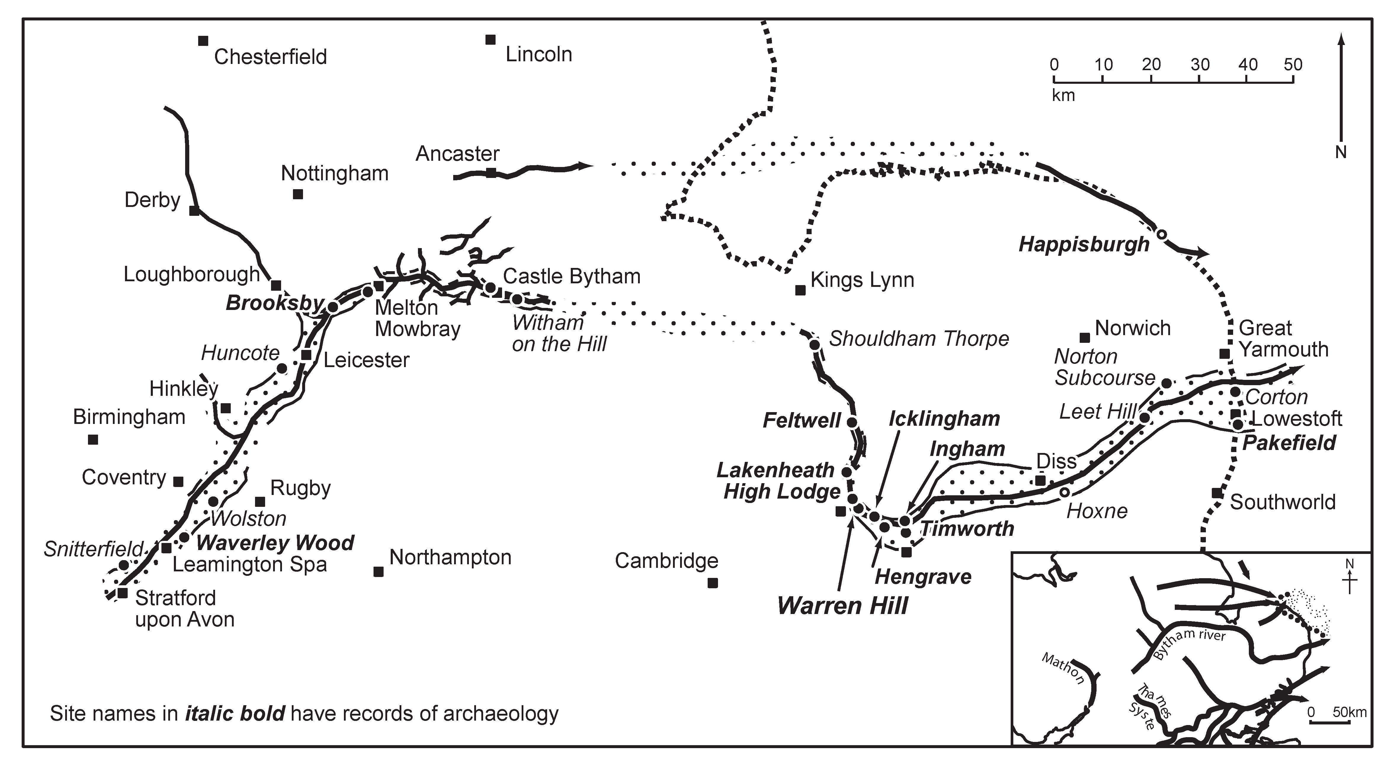 A map of the east of England, showing rivers, settlements and archaeological sites.