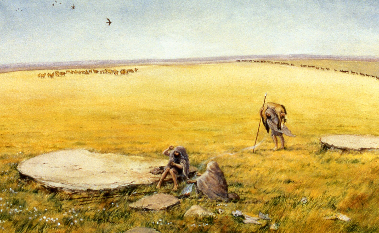 A painting of three figures in a grassy landscape, sitting around some cleared areas. Herds of animals can be seen in the distance.