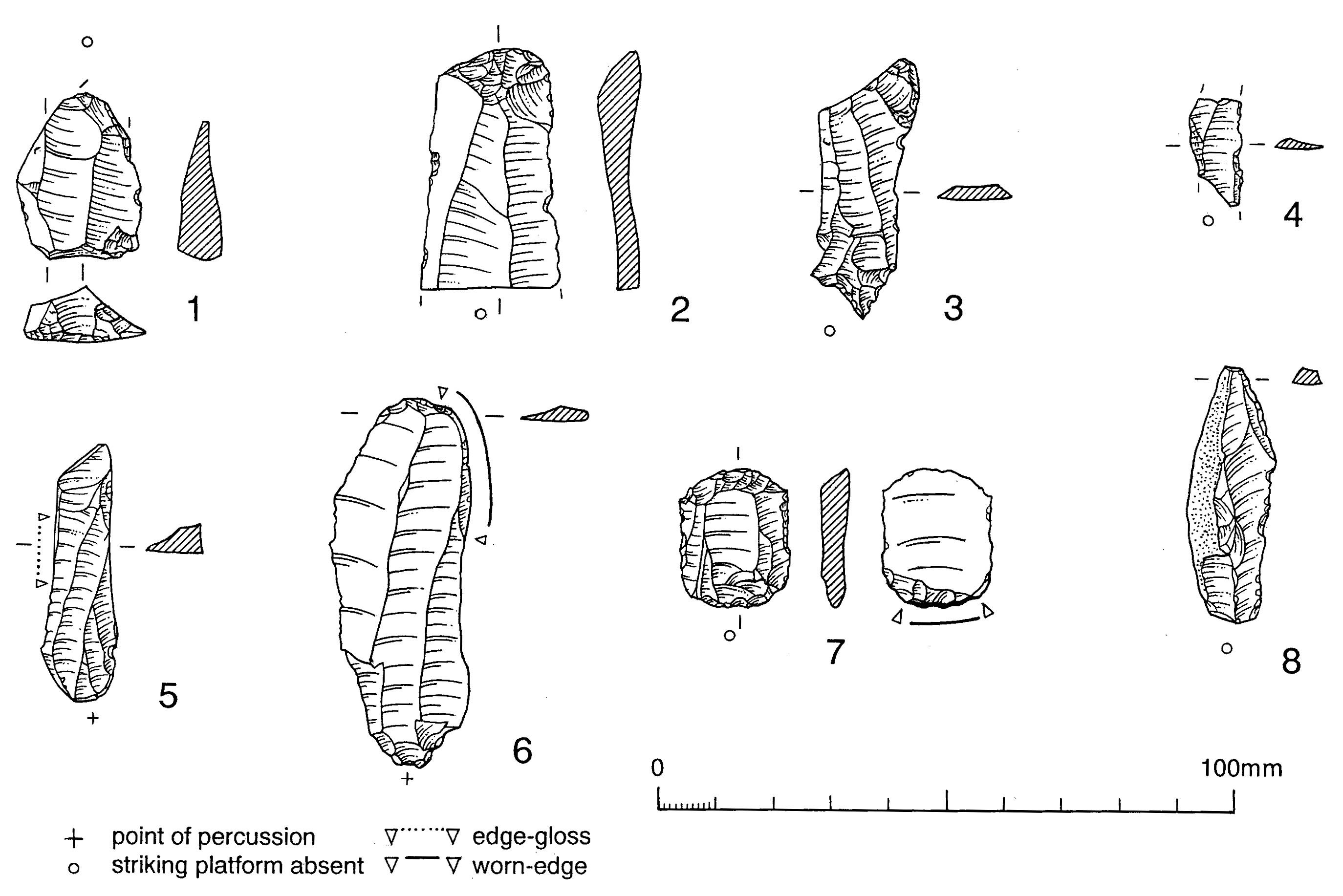 Drawings of eight worked flints,  between 20 and 60 mm long, showing features and wear.