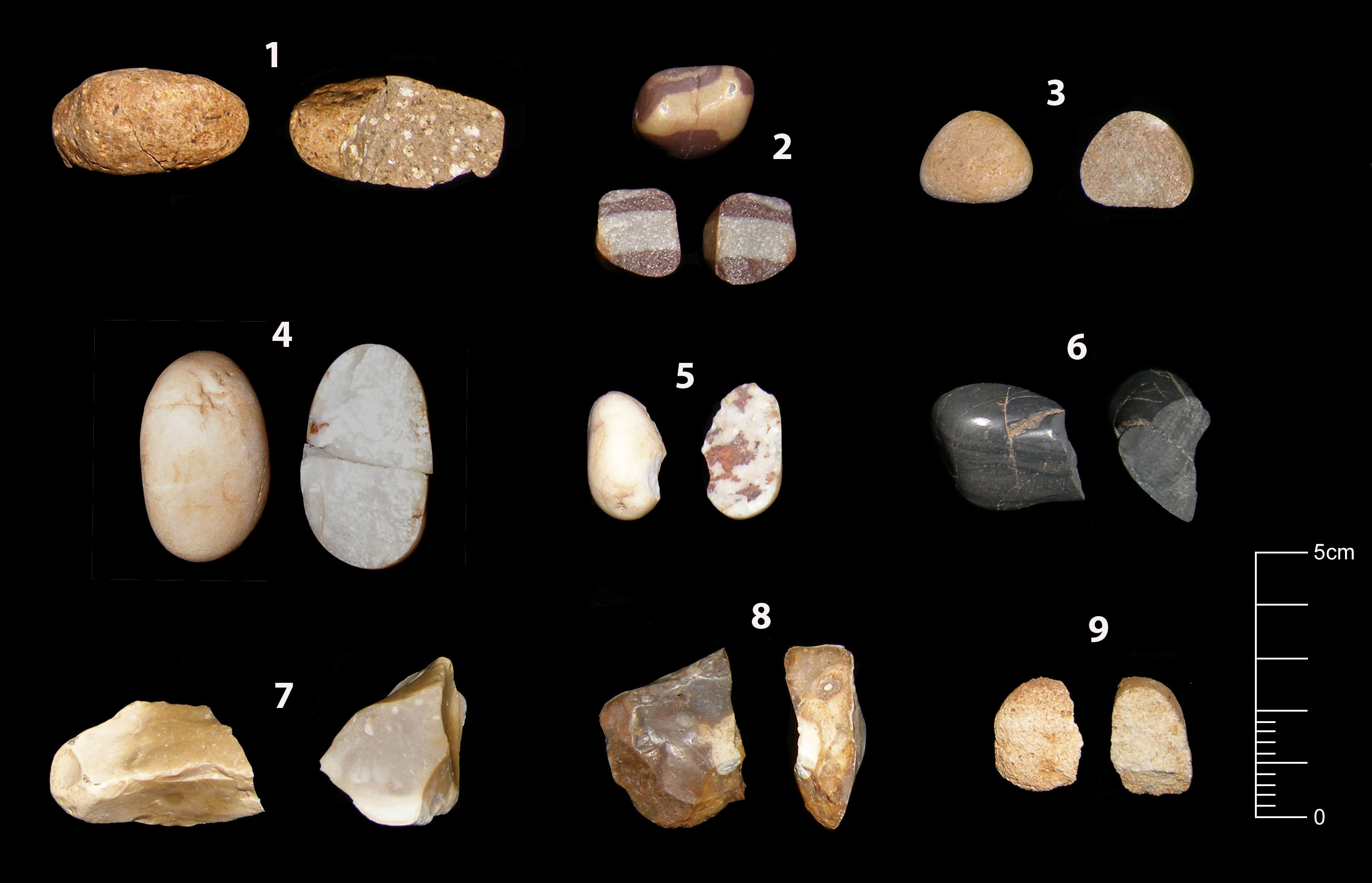 A photo composite showing nine different types of stone, of different colours, textures and shapes.