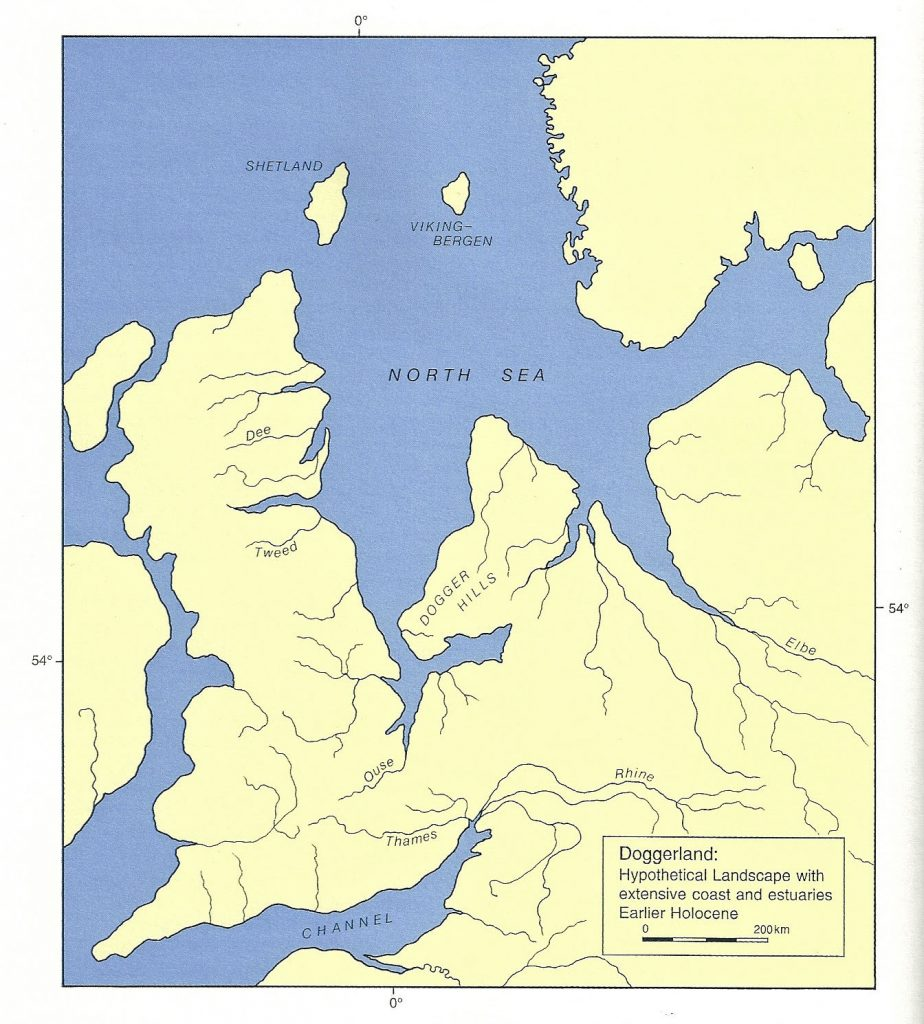 A map showing the coastline of the UK, which is joined in the south-east to mainland Europe.
