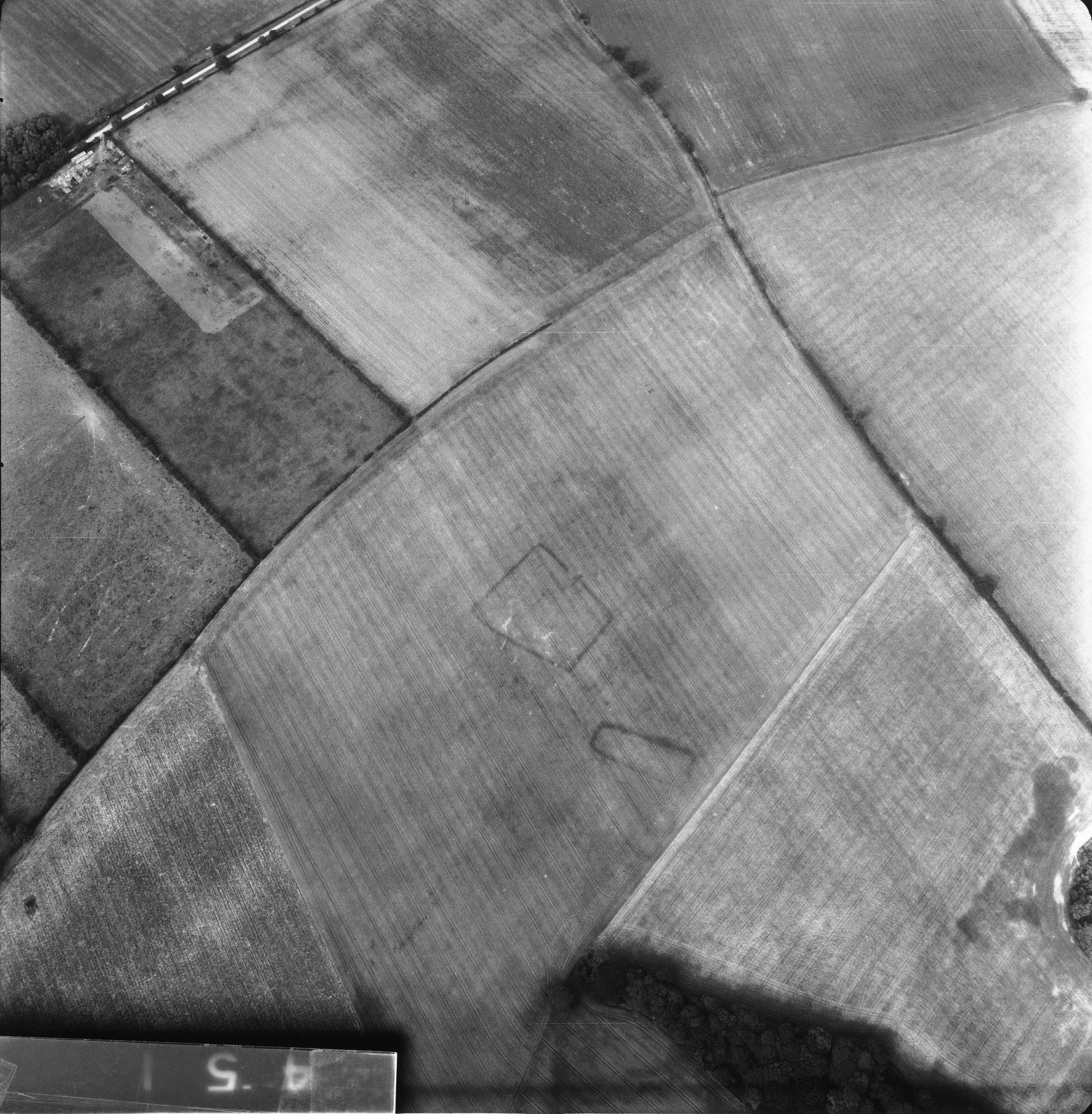 A black-and-white aerial photo of a field system containing two rectangular shapes in proximity to each other. One is long and thin, and one is almost square.