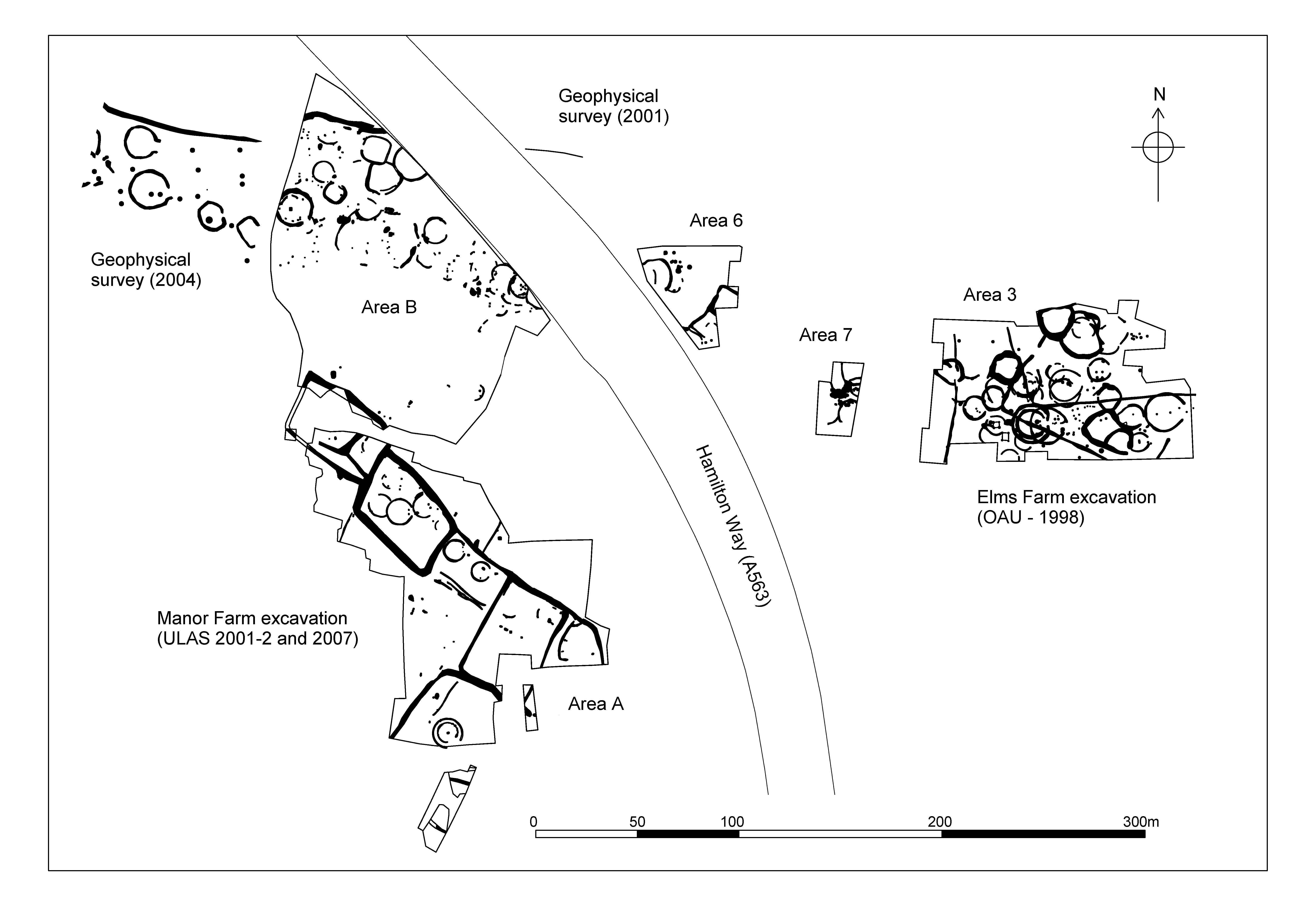 A diagram of a large site (circa 500 metres across), showing enclosures and other structures as they appear on a geophysical survey.