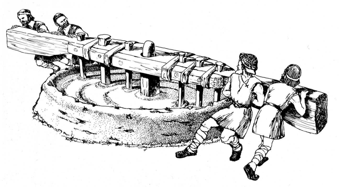 A drawing of a large circular tool used for mixing mortar, with the same profile as the structures shown in the photo above. Four men are shown turning a very large lever to rotate a mixing apparatus.
