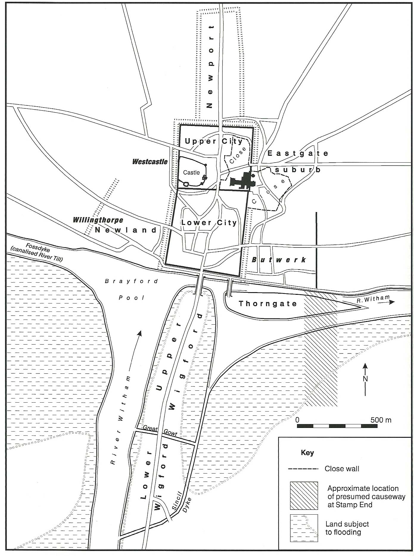 A map of a settlement, showing a rectangular walled city to the north, and several more irregular settlements to the south.