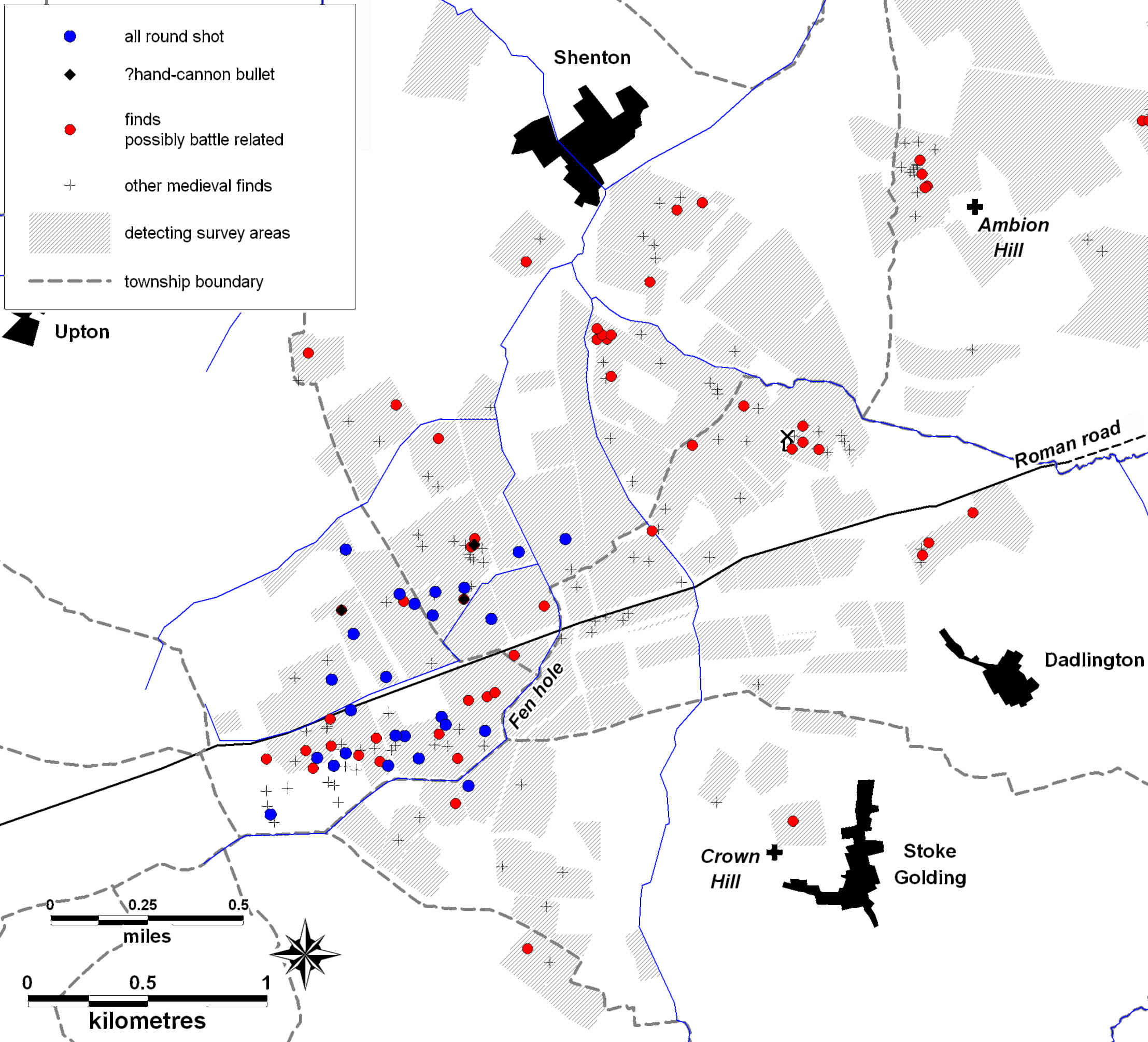 A map showing the distribution of features. Shot finds are concentrated in a small area, while more general battle-related finds are spread more widely.
