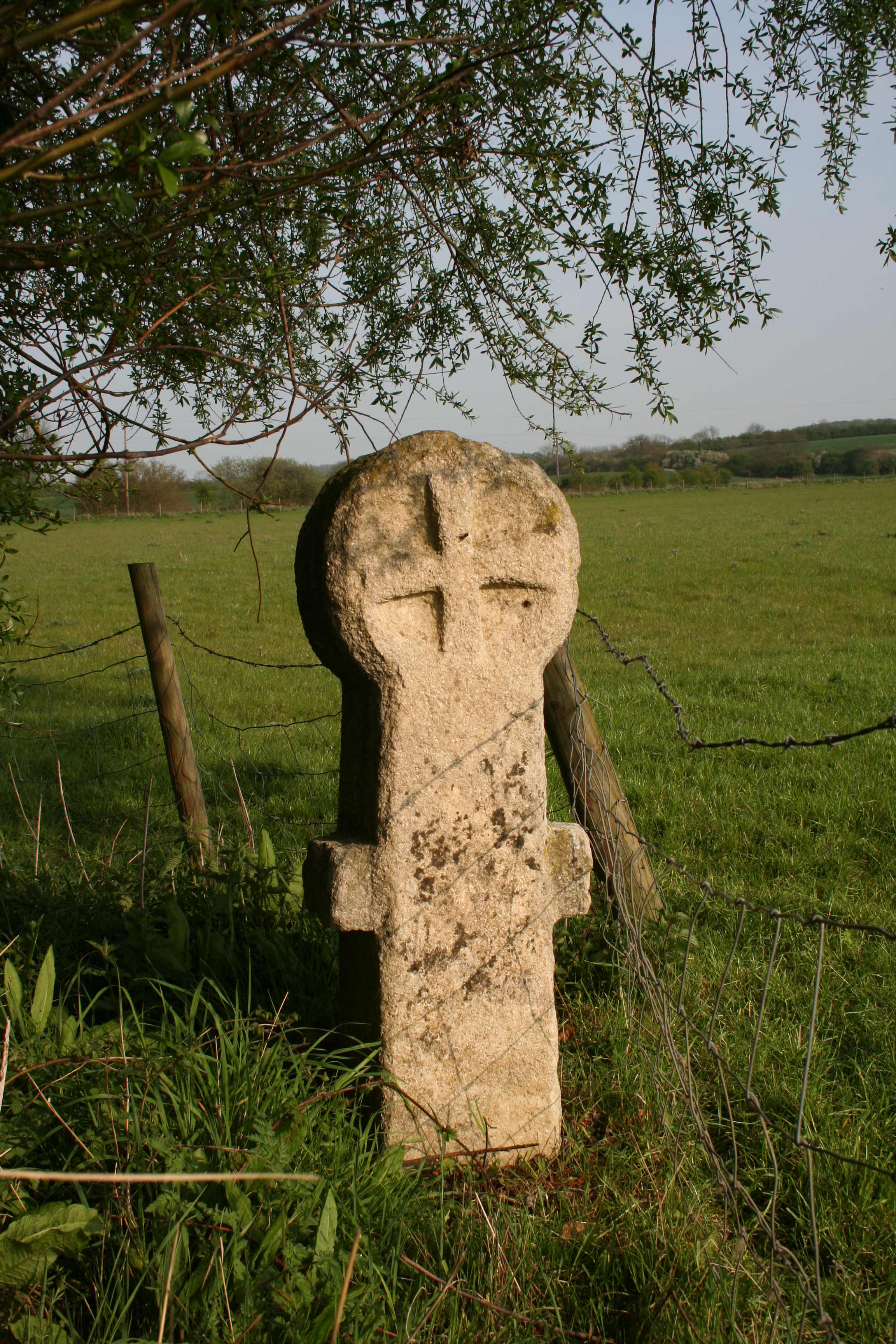 A photograph of a stone cross, standing in a grassy field, under a tree. There is another, engraved cross at the top of the pillar.