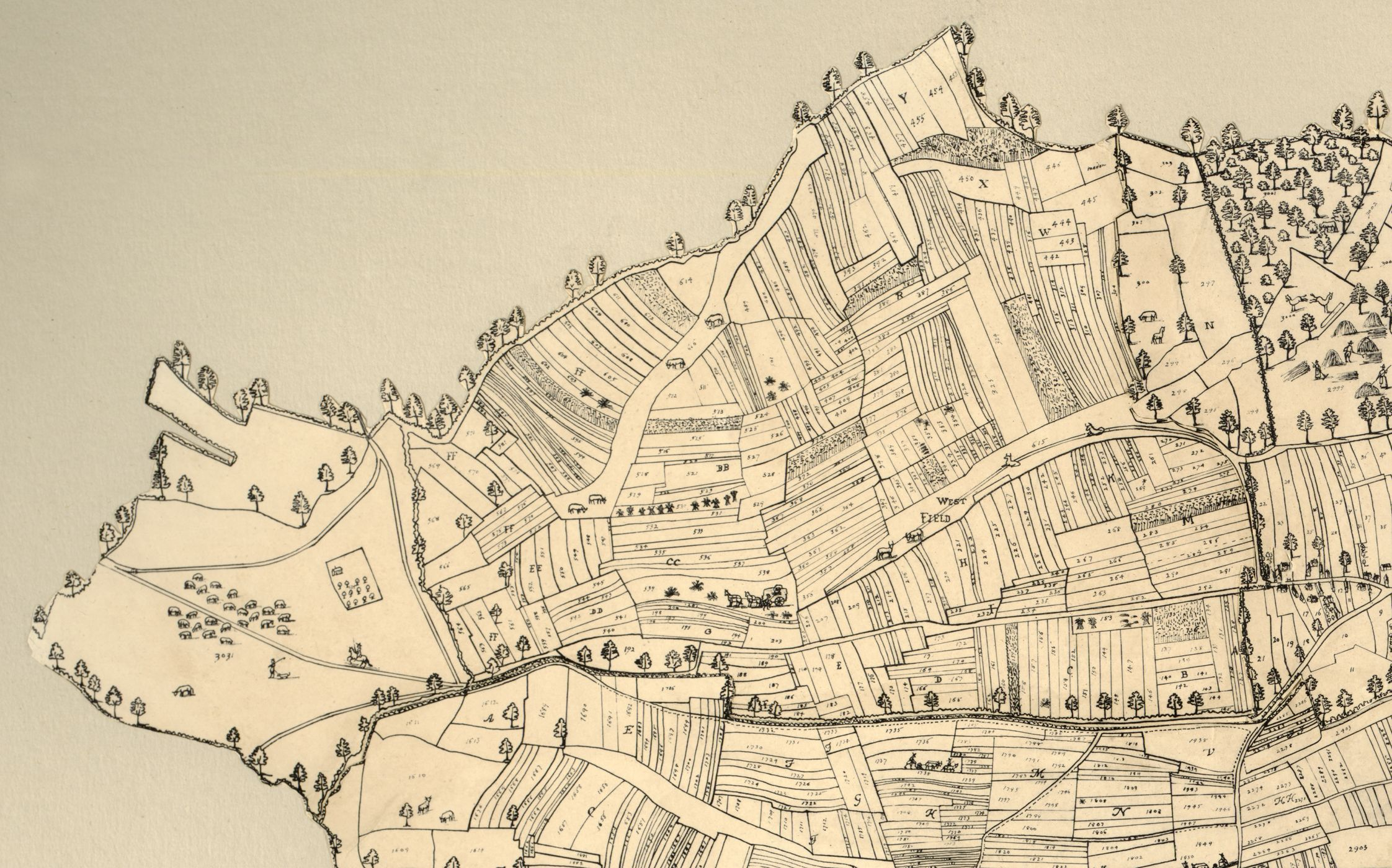 A hand-drawn map showing a complex field system, as well as settlements, roads and rivers. The fields are mostly very long and thin. Charming caricatures of farmers and travelers populate the map.