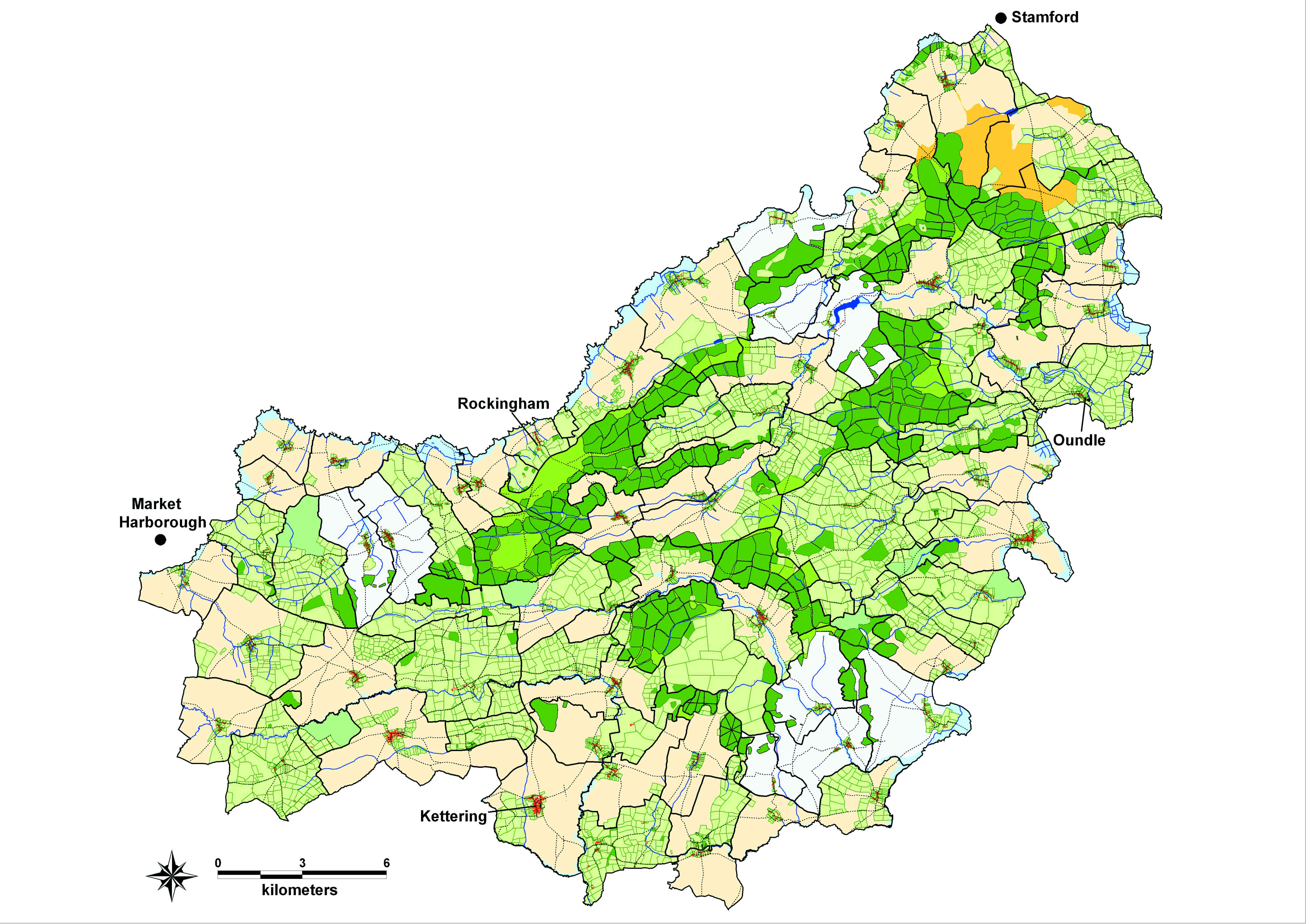 A map showing the types of land in a region. Open field and forest predominate, with some areas of township and a small amount of heath in the north east.