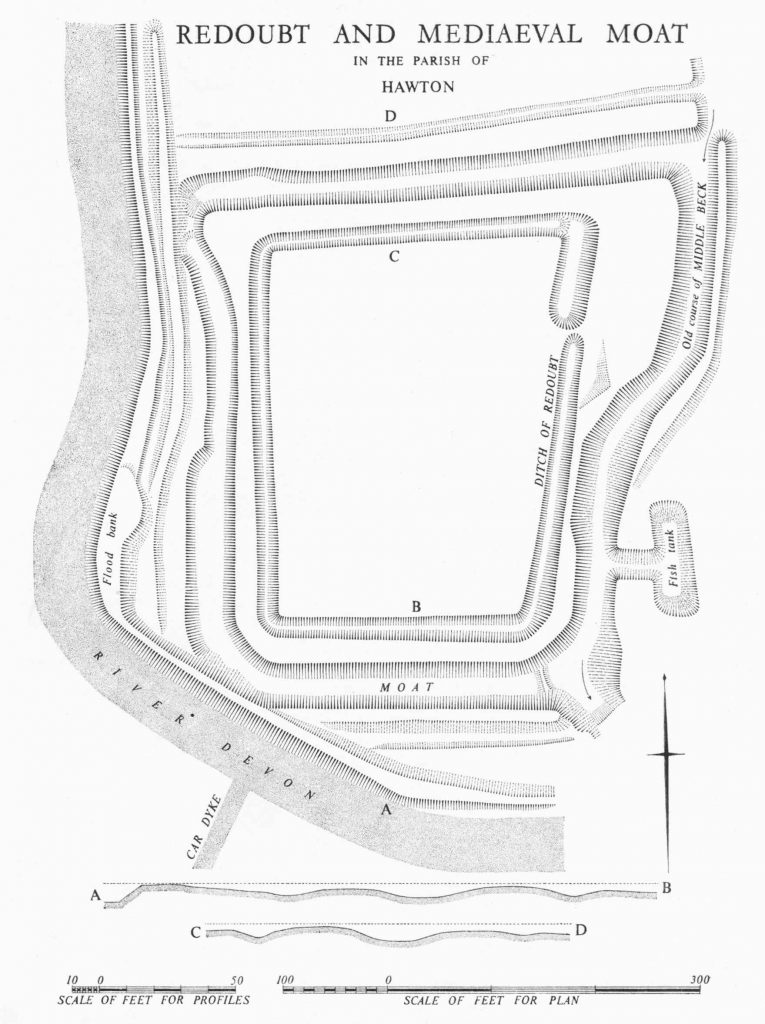A map of a roughly rectangular site, showing defensive walls. The site is directly adjacent to a river.