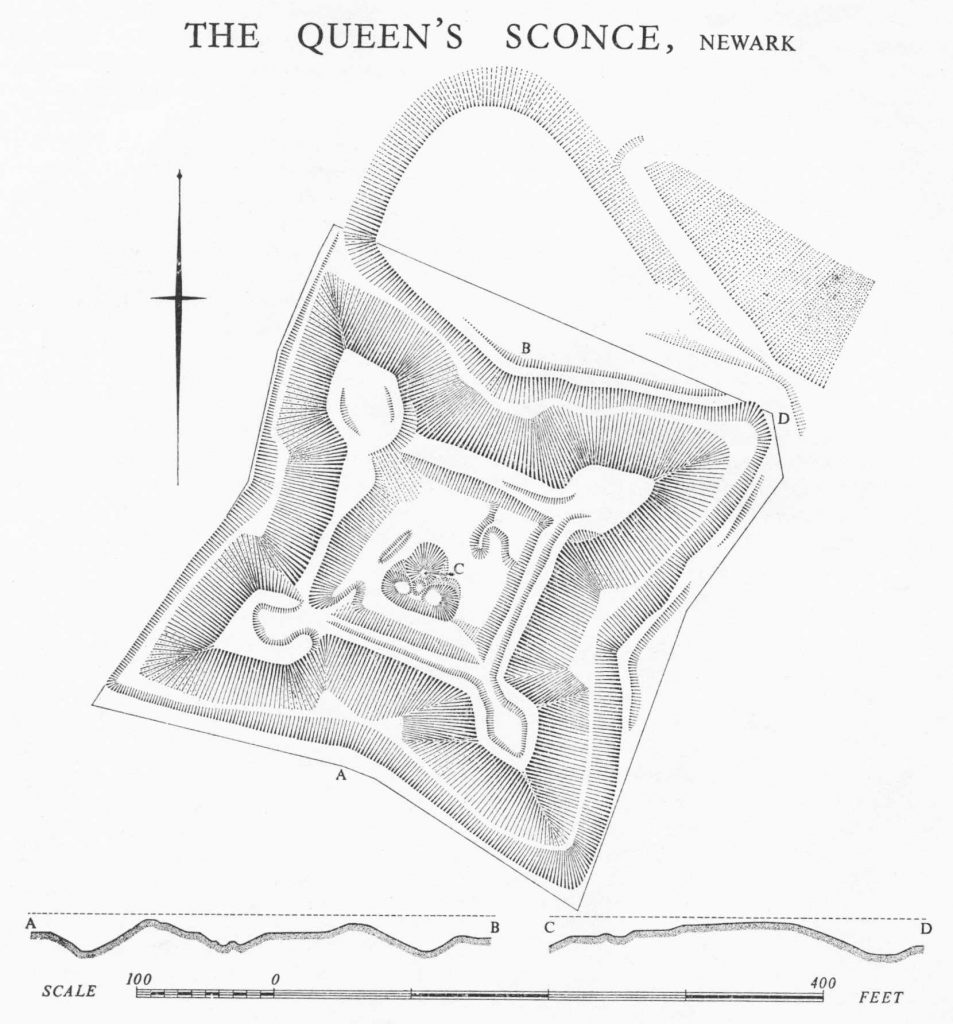 A map of a roughly square defensive structure. The corners come to sharp points, and the walls are concave, presumably to allow advantageous defensive fields of fire.