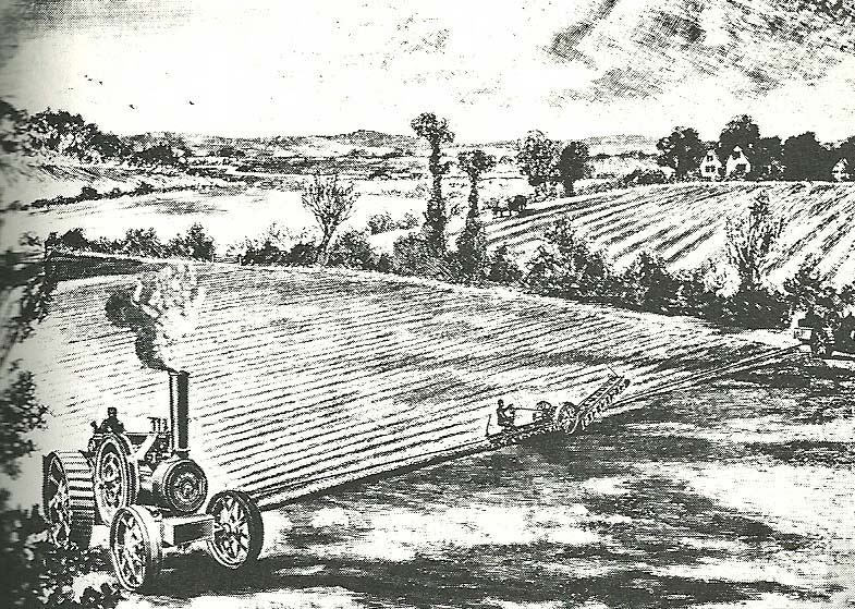 A drawing of a rural landscape. In the foreground a traction engine is pulling a plough on a rope.