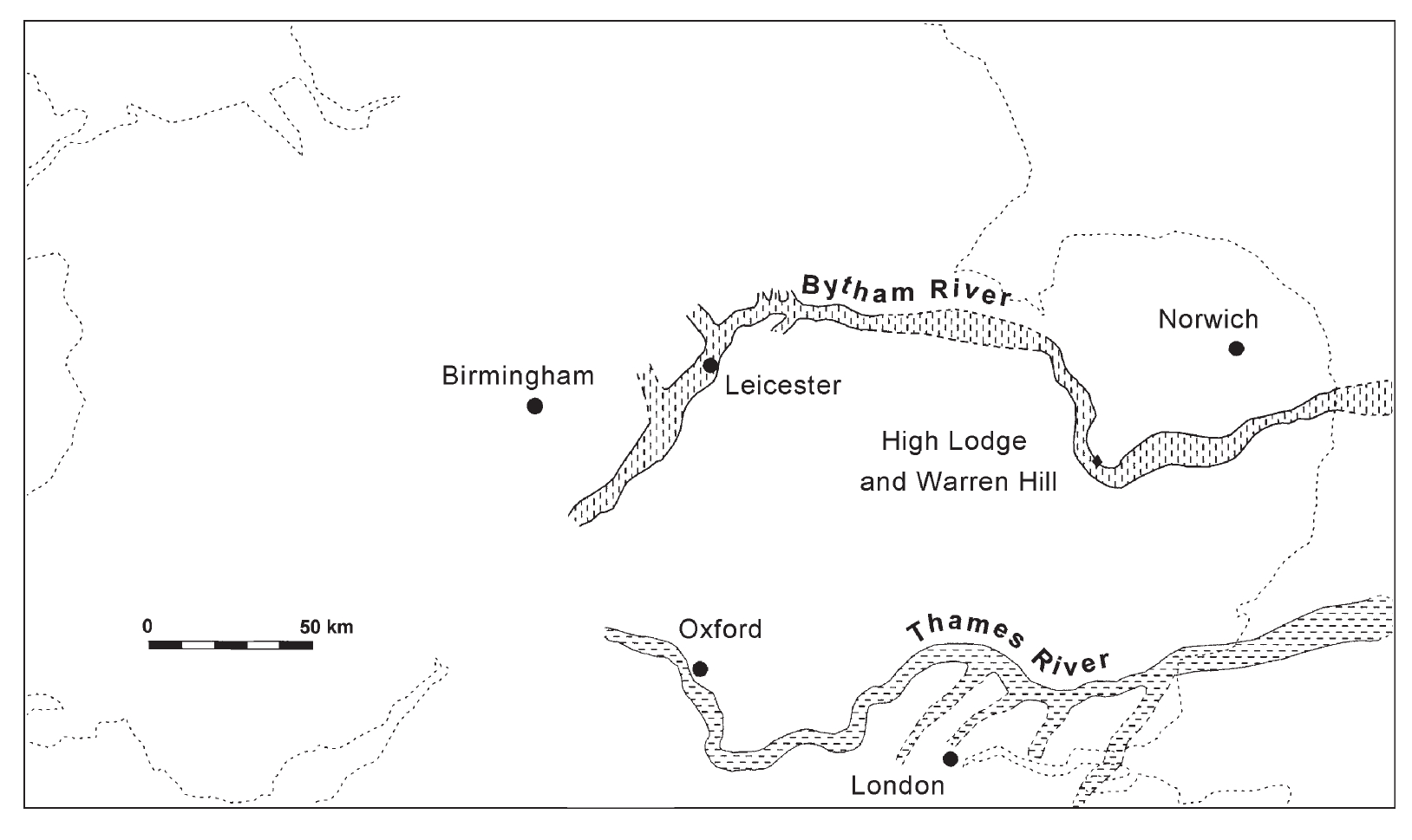 A map showing the south of England, with the routes of the Bytham and Thames rivers marked. The Bytham flows east from near Birmingham, passing south of Norwich. The Thames flows east from near Oxford, passing north of London.