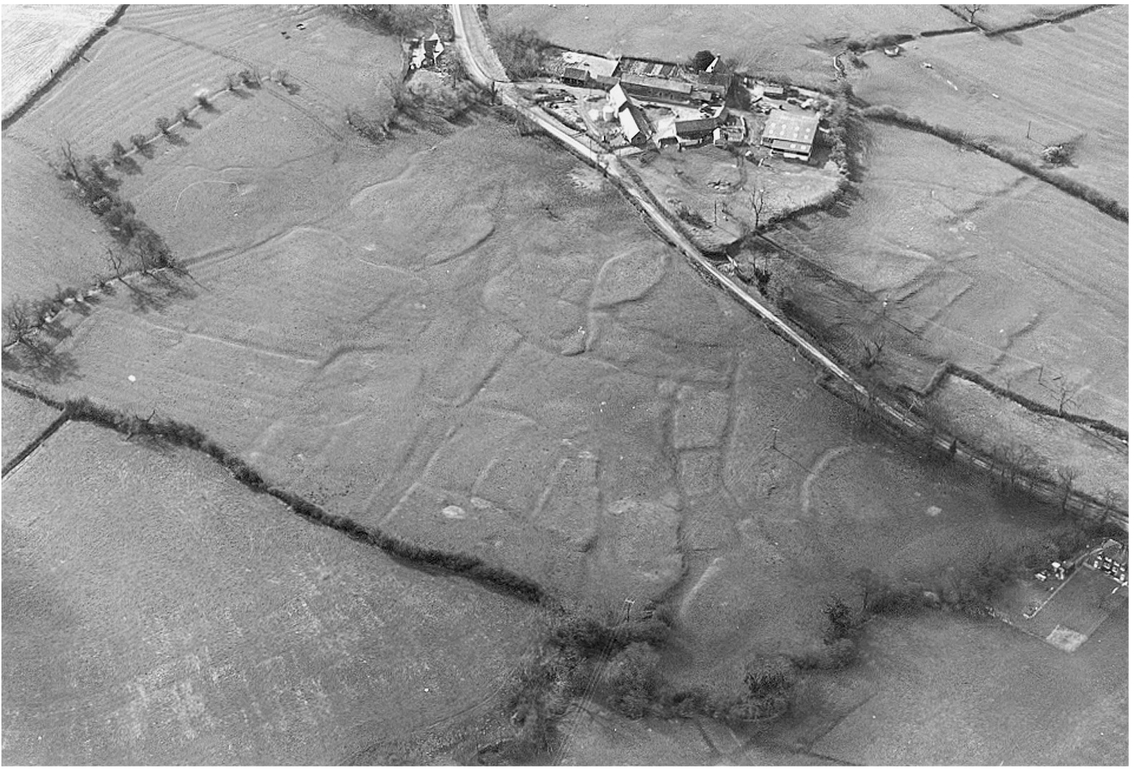 A black and white aerial photo showing fields, a road and farm buildings. In the central field extensive crop marks can be seen showing the outline of the medieval village.