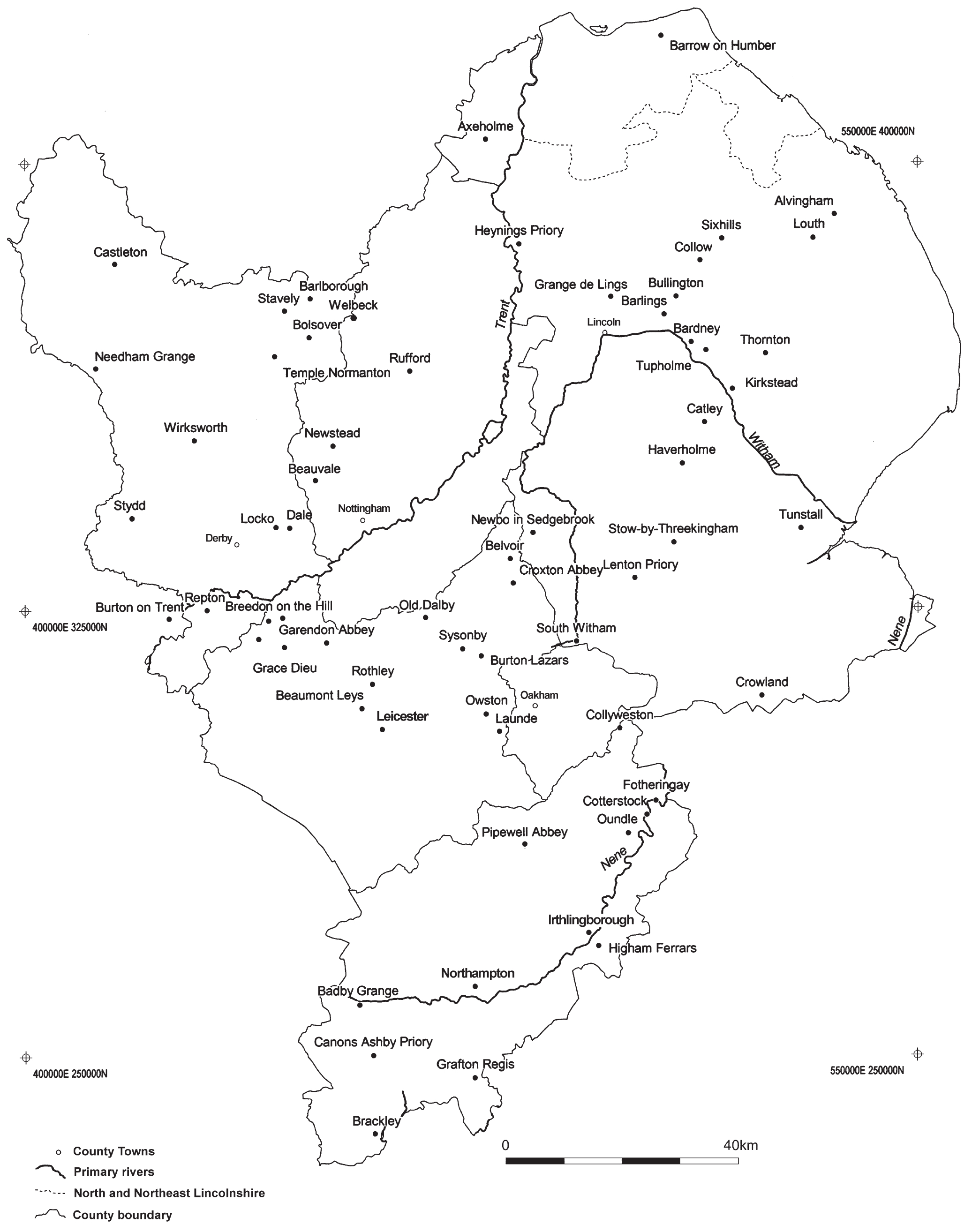 A map of the midlands showing the distribution of sites. Sites are concentrated in the center and north of the region, with fewer in the south.