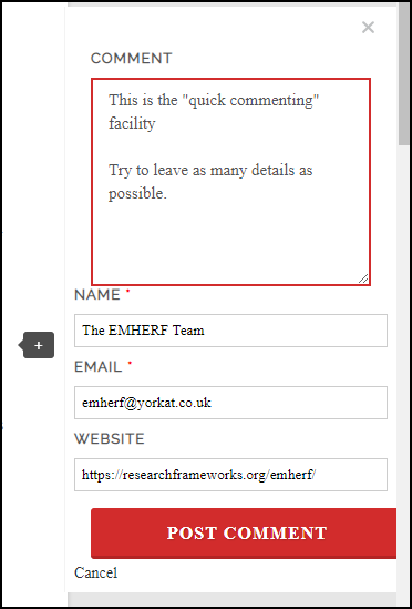 "An image of a comment box, showing four fields: comment, name, email and website, and two buttons, ""post comment"" and ""cancel""."