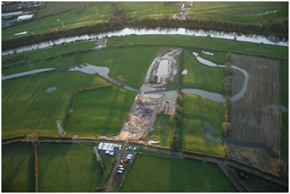 Aerial photograph showing flooded river channels