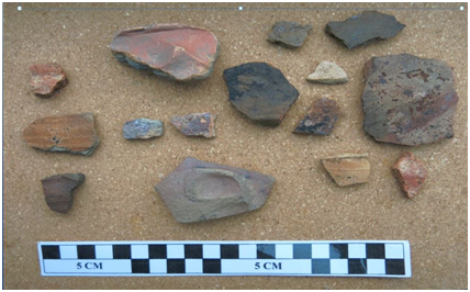 Photograph of different pieces of pottery