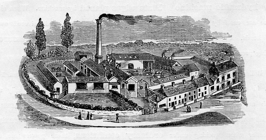 Figure 4: The former Somerset Wheel and Wagon Works, Bower Hinton near Martock, Somerset This bird's eye view from a billhead shows the layout of William Sparrow's agricultural engineering and millwrighting business established in 1867.